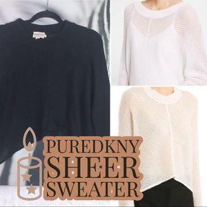 PureDKNY Sheer Sweater Asymmetric Hem Wool Blend M